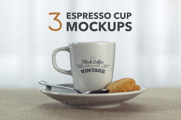 3 Espresso Coffee Cup Mockups