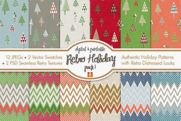 Retro Holiday Digital Paper Pack I