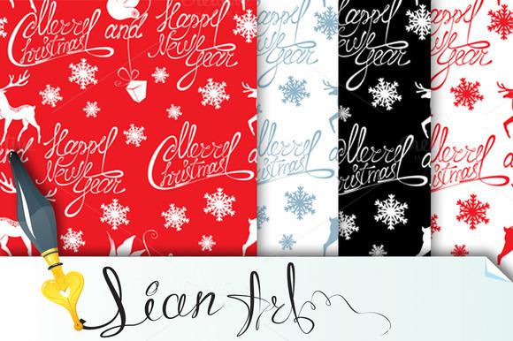 4 Seamless Pattern Merry Christmas