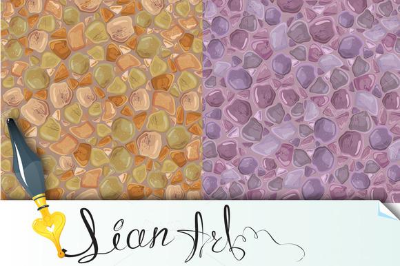 2 Seamless Patterns Stones Backgro