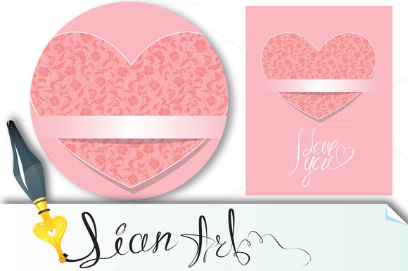 Card With Floral Pattern Heart