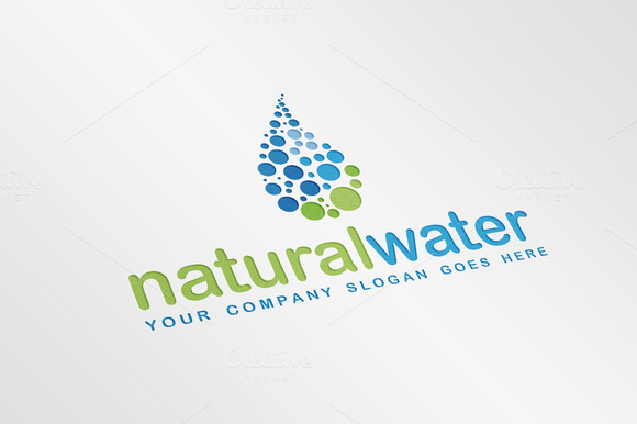 Natural Water Drop Logo Template