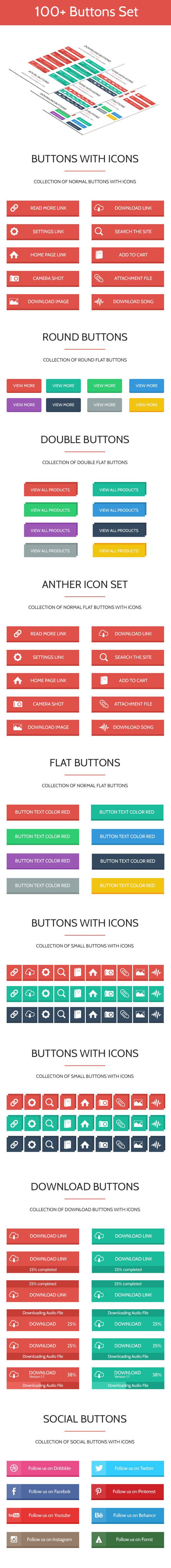 100 Flat Modern Web Buttons Set