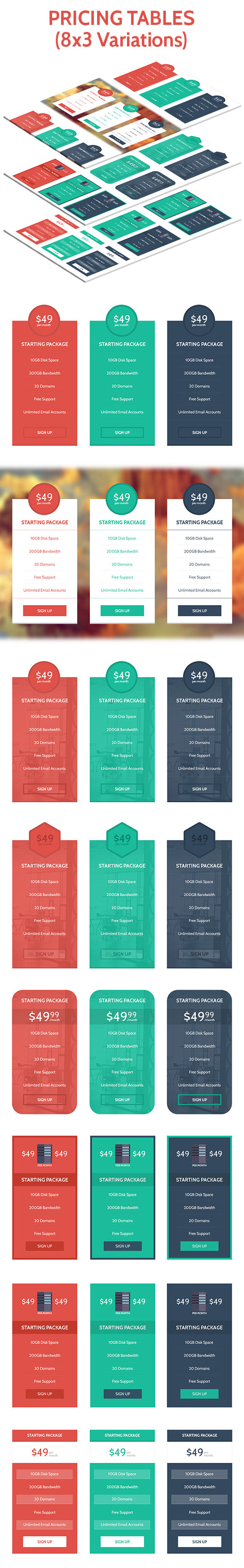 Flat Modern Pricing Table Set