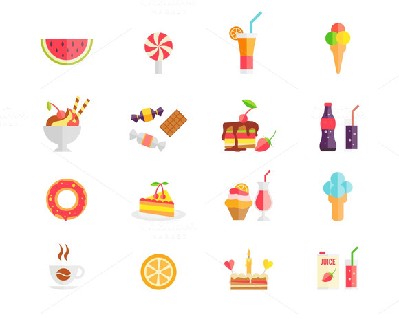 Sweets Desserts And Cakes Icons