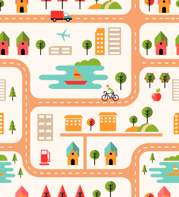 City Map Seamless Background Pattern