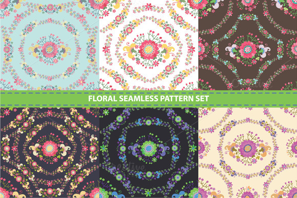 Cute Floral Seamless Pattern Set 4
