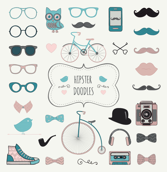 Hipster Vintage Doodle Icons