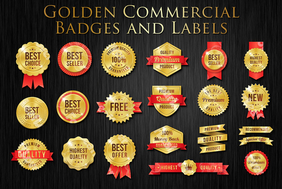 Vector Golden Commercial Label Set