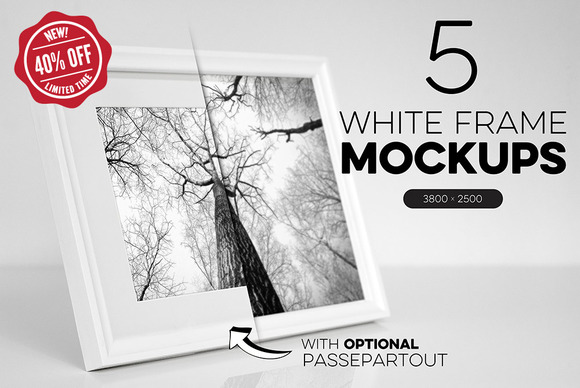 Bundle Of 5 White Frame Mockups