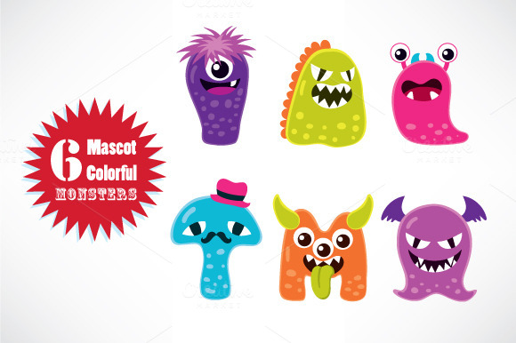 Cute Monster Mascot Characters
