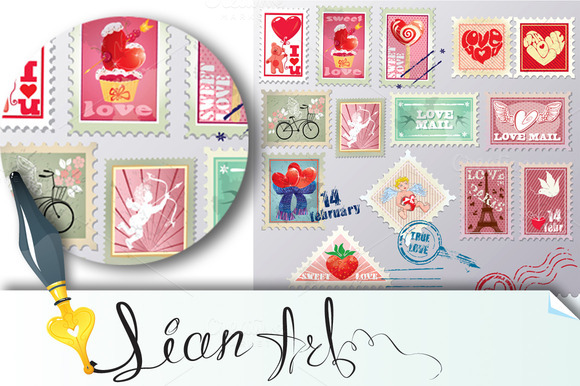 Set Of Vintage Love Post Stamps