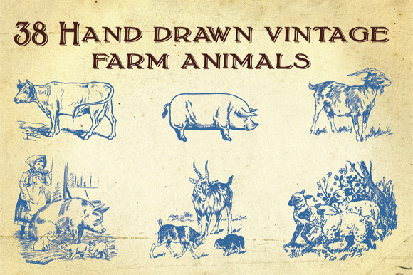 38 Hand Drawn Farm Animals