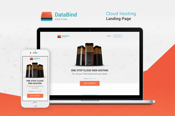 Data Bind Hosting Landing Page PSD