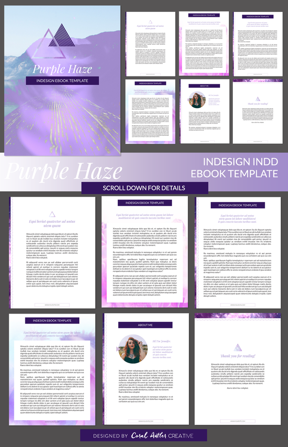 Template purple haze indesign ebook template for Indesign templates for books