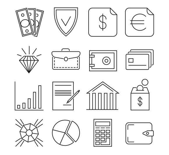 Money Finance Payments Line Icons