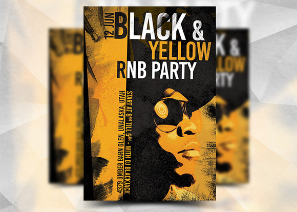Black Yellow RNB Party Template