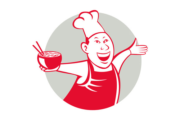 Asian Chef Serving Noodle Bowl