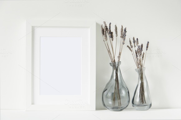 White Frame Mockup With Lavender