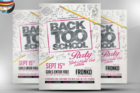 Back Too School Party Flyer Template