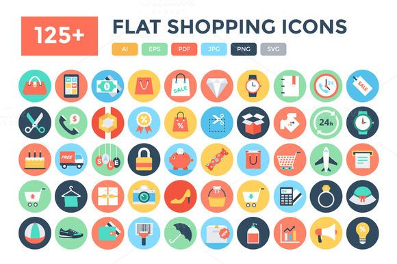 125 Flat Shopping Icons
