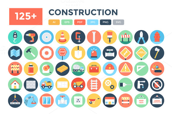 125 Flat Construction Icons