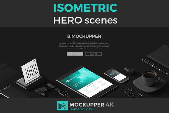 Hero Scenes Isometric View Mockups
