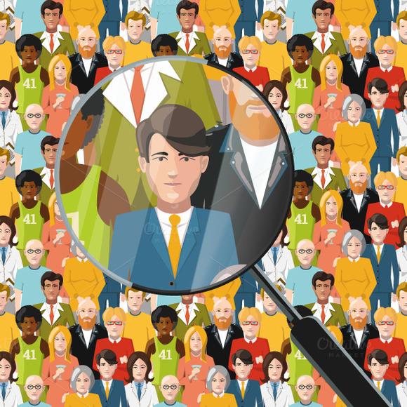 Men In Crowd Flat Illustration