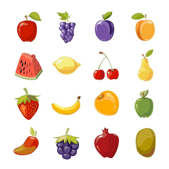 Fruit Icons In Cartoon Style