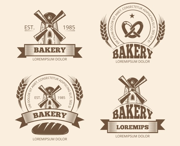 Vintage Bakery And Bread Shop Logos