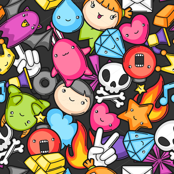 Game Kawaii Seamless Patterns