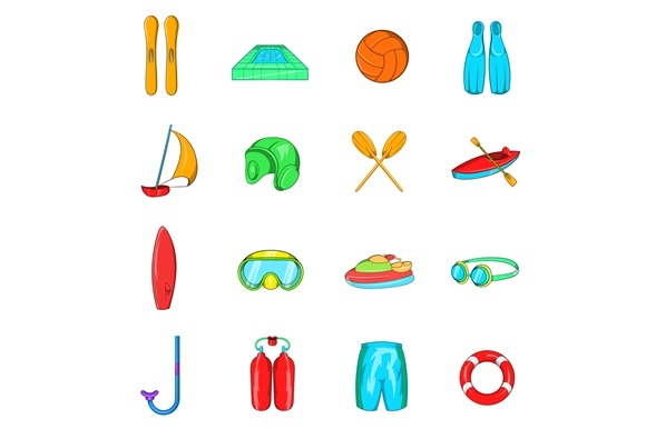 Water Sport Icons Set Cartoon Style