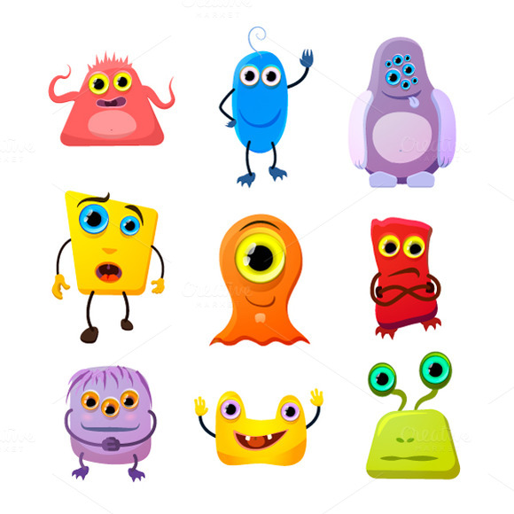 Set Of Cute Monsters On White