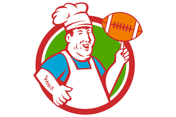 Fat Chef Cook Twirling Football