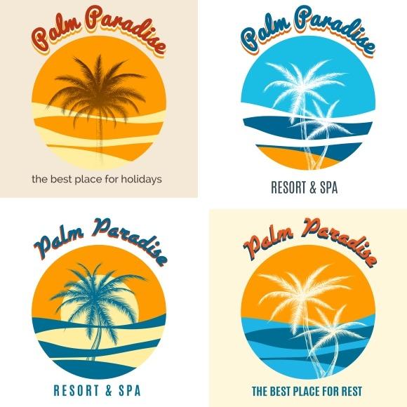 Palm Paradise Logo Set