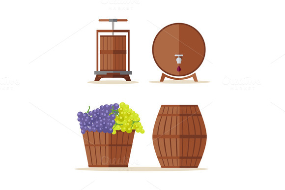 Wine Barrels Set Basket With Grape