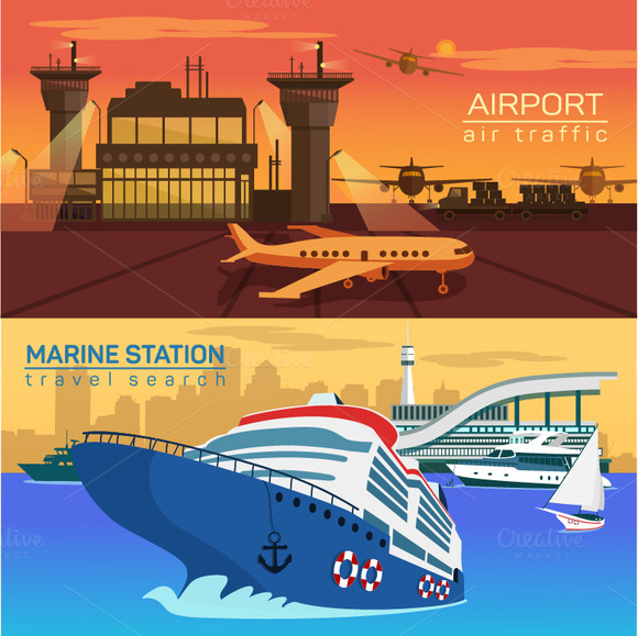 Airport And Marine Station Banners