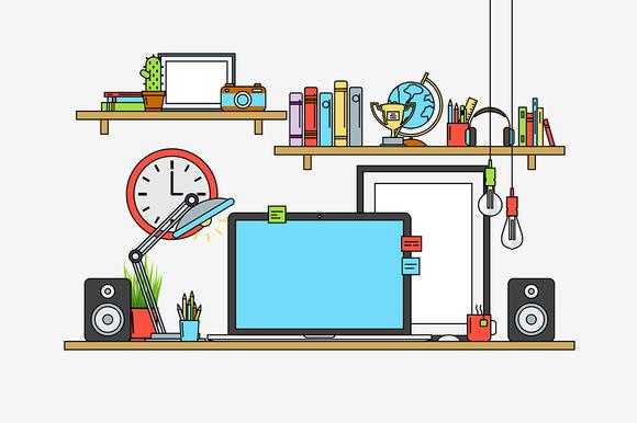Design Mock Up Of Modern Workspace