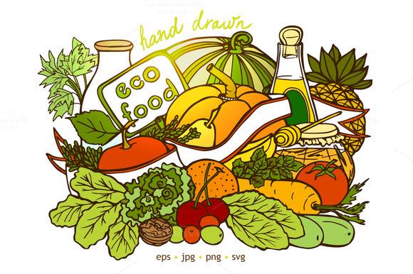 Fruit And Vegetables Doodle Set
