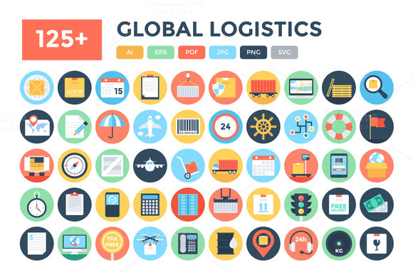 125 Flat Global Logistics Icons