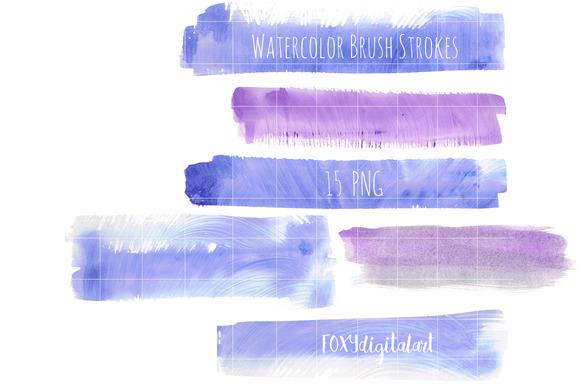 Watercolor Brush Strokes Splashes