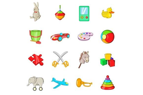 Toys Icons Set Cartoon Style