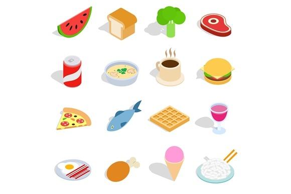 Food Icons Set Isometric 3D Style