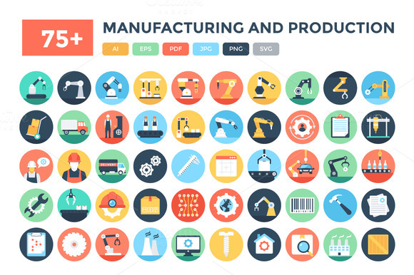 75 Manufacturing Production Icons