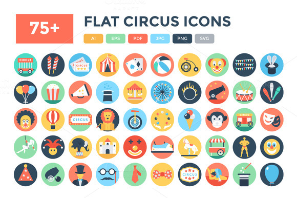 75 Flat Circus Vector Icons