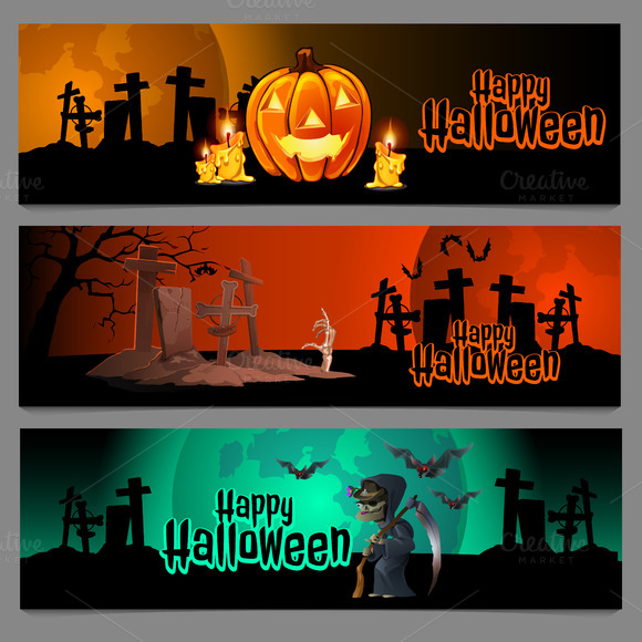 Halloween Cards With Graveyard