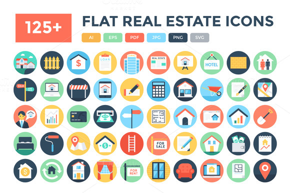 125 Flat Real Estate Icons