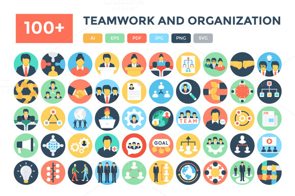 100 Teamwork And Organization Icons