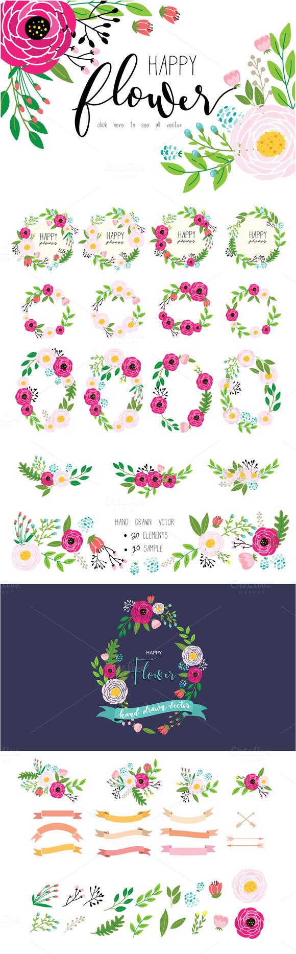 HAPPY FLOWER SET Hand Drawn Vector
