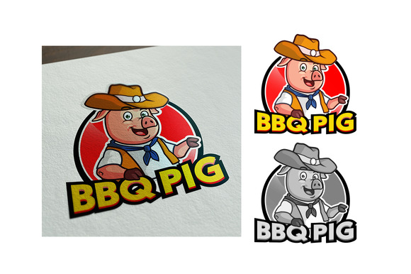 COWBOY BARBECUE PIG CARTOON LOGO